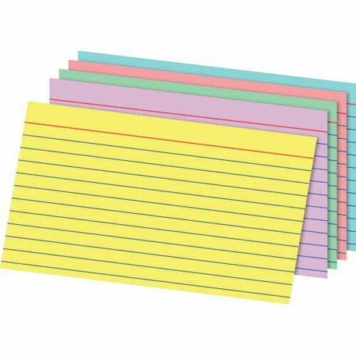Office Depot Index Cards, 3 x 5, Blue/Violet/Green/Cherry/Canary, 100/Pack