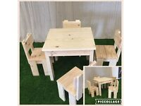 Beautiful hand crafted Childrens table and 4 chairs.