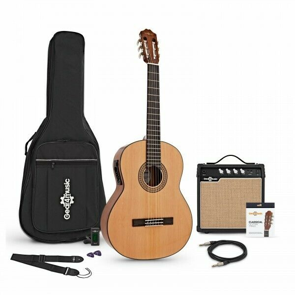 Deluxe Classical Electro Acoustic Guitar by Gear4music + Amp Pack