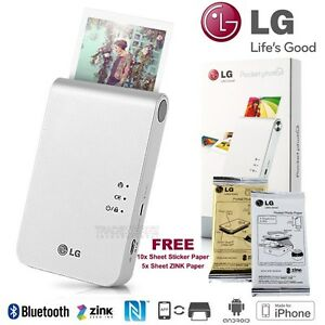 LG PD239 White Wireless IOS Android Portable Instant Pocket Mobile Photo Printer