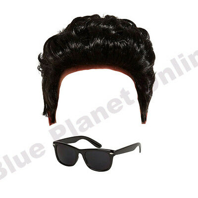 Perücke & Schwarze Sonnenbrille Maskenkostüm (Greaser Perücken)