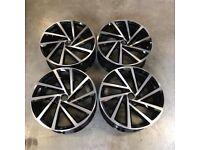 19″ VW Golf R Spielberg Style Wheels – Gloss Black Machined – VW MK5 MK6 MK7 – 5×112