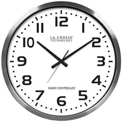La Crosse Technology 20 Brushed Aluminum Atomic Wall Clock  (404-1220)