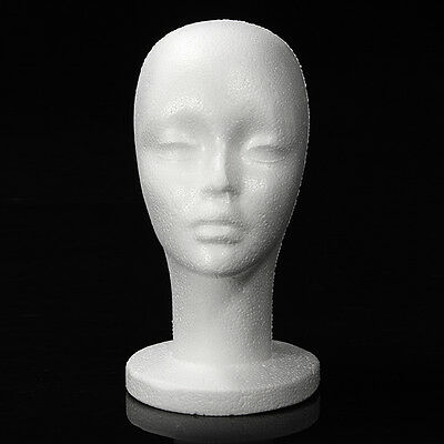 Female White Styrofoam Foam Mannequin Manikin Head Stand Hat Headphones Wig Us