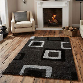 new good quality rugs grey and black choice of 3