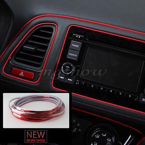 Light Red Car Interior Accessories Garnish Line 5m Edge Gap Molding Decoration
