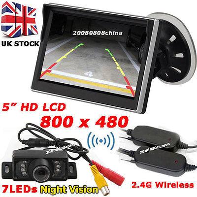 "Car Rear View Kit 5"" HD Color LCD Monitor +Wireless IR Reversing Parking Camera"