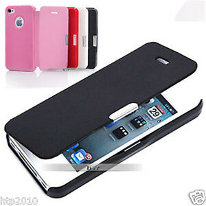 Black Ultra Slim Flip Leather Case Cover For Apple iPhone 4S 4