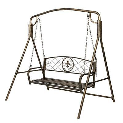 US Artisasset Paint Brush Gold Old Outdoor Garden Double Swing Chair Black Outdoor Painted Chair
