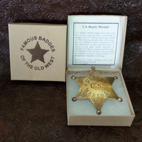 Deputy US Marshall Badge, Old West, Replica, Brass