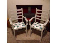 Pair of Shabby Chic Farmhouse Chairs