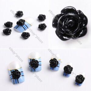 20pcs-Acrylic-3D-Black-Rose-Flower-Stickers-Beads-Nail-Art-Tips-DIY-Decorations