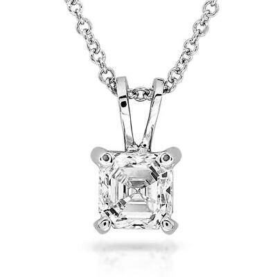 1ct Asscher Cut Diamond Solo Solitaire Pendant 14k White Gold Finish WITH CHAIN
