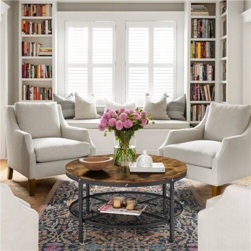 2-Tier Rustic Round Coffee Table Home Furniture w/ Storage Shelf for Living Room 10