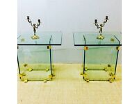 Pair of modern luxury glass side tables free delivery in London