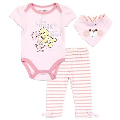 Care Bears Girl Pink Infant Baby Shower Bodysuit One-Piece Bib Pants 3PC Set - Care Bear Baby Shower