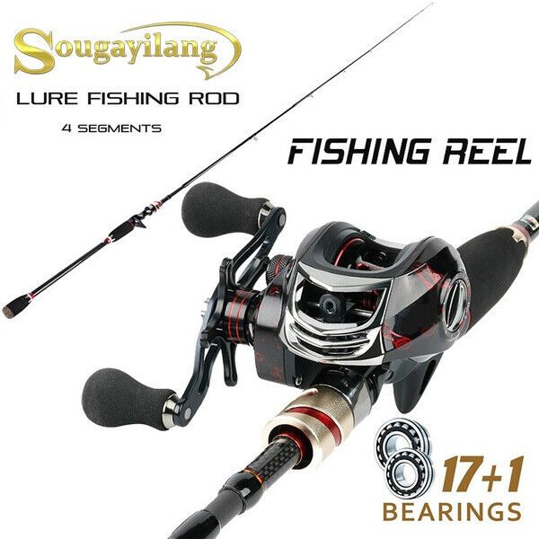 Sougayilang Casting 4 Section Carbon Fiber Fishing Rod and Black&Red 17+1  Reel