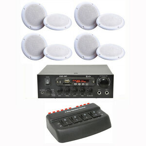 CAFE RESTAURANT BLUETOOTH AMPLIFIER + 8 CEILING SPEAKER + SWITCH BOX + CABLE