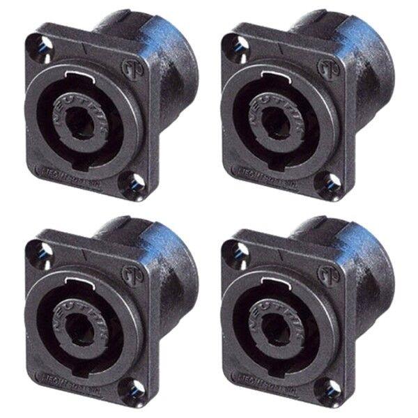 4 Neutrik SpeakOn NL4MP-ST 4-Pin Locking Speaker Panel Mount w//Screw Terminals