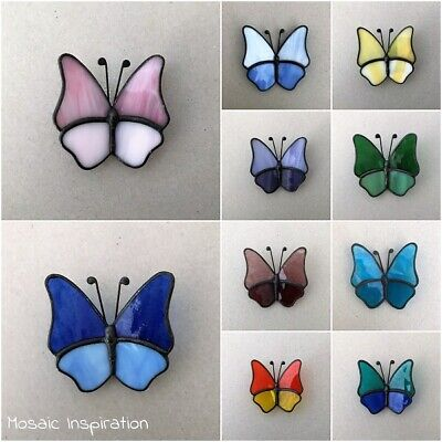STAINED GLASS BUTTERFLY - 55x55mm ~ Mosaic Inserts, Art, Craft Supplies - Butterfly Stained Glass