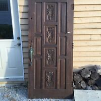 Vintage solid wood door with brass hardware