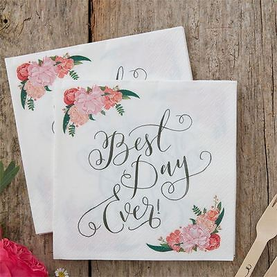 New Ginger Ray Boho Floral 'Best Day Ever' Wedding Table Napkins Serviettes