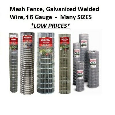 Galvanized Welded Mesh Fence (Galvanized Welded Wire Mesh Cage Fence, 16 Gauge - Many Sizes & Mesh Sizes )