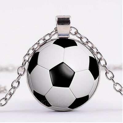 New Cabochon Silver woman pendants Glass Necklace - Soccer Jewelry