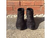 Pull & Bear Black Suede Ankle Boots