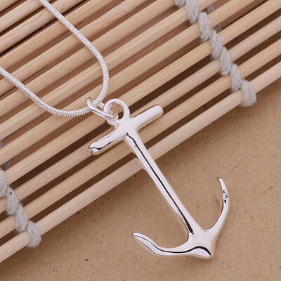 cute Silver Fashion Charms Anchor pendant Necklace Jewelry women lady hot gift