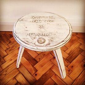 Painted beer barrel table