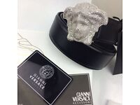 Diamond bling three dimensional chrome head buckle with shiny black leather belt versace unisex