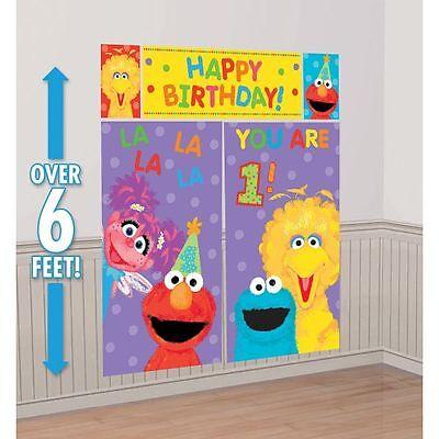 Sesame Street Elmo 1st Birthday Scene Setter Decoration Wall Banner Party Supply