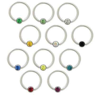 Captive Bead Ring Nipple Ring Surgical Steel with CZ Jewel - 12 Colors Color Jeweled Captive Ring