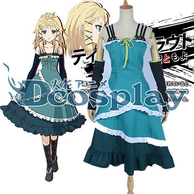 Black Bullet Tina Sprout Cosplay Costume Daily Green Dress - Sprout Costume