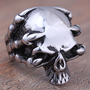 Men-Stainless-Steel-Fashion-Gothic-Punk-Skull-Biker-Ring-Size-7-8-9-10-11-12-13