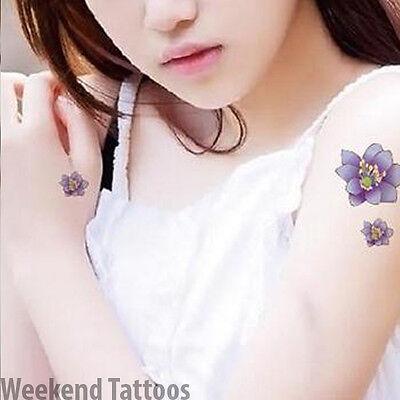 Small Purple Flower Lotus Temporary Tattoo  Transfer Sticker Art Body Sticker (Purple Flower Tattoo)
