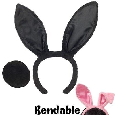 EASTER BUNNY EARS and TAIL Set - Choose Pink or Black, or - Black Bunny Ears And Tail