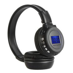 Wireless Stereo Headphone Headset MP3 SD Card Music Player FM Radio LCD Display