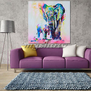Unframed Watercolor Elephant Canvas Prints Modern Art Picture Wall Decor Home