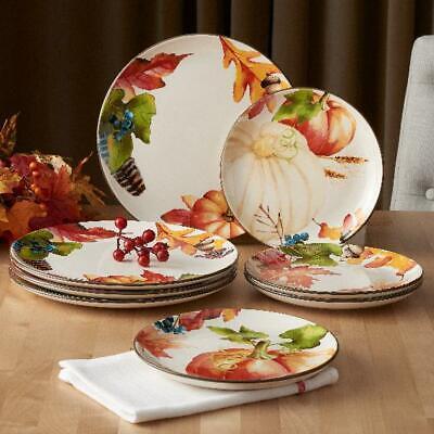 Autumn Botanical 4 Piece Dinner Plate Durable Ironstone Safe Set 4 Piece Dinner Plate Set