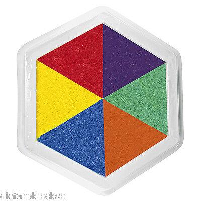 Riesenstempelkissen Multicolor 6 farbig 14x14 cm Kinder Stempelkissen groß  NEU - Multi Color Kissen