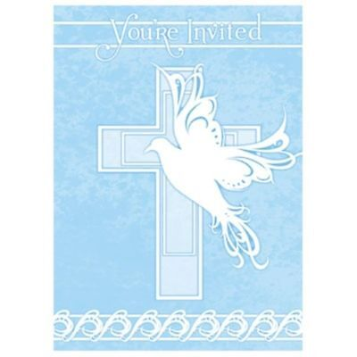 Blue Dove Cross 8 Invitations Baptism Christening Communion Party Supply