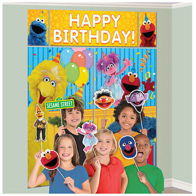 Sesame Street Scene Setter Birthday Party Wall Decoration Poster + 12 Props ELMO](Elmo Party Decor)