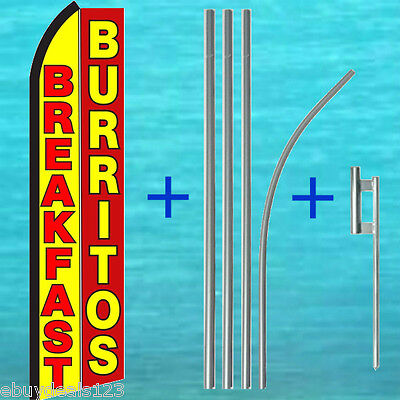 Breakfast Burritos Swooper Flag Pole Kit 15 Tall Sign Flutter Feather Banner
