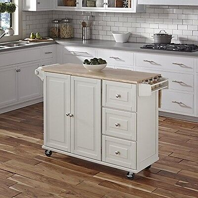 Home Styles 4511-95 Liberty Kitchen Cart W/Wood Top White