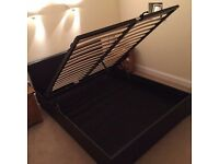 Black faux leather ottoman double bed frame