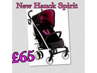 LAST SHOP DISPLAY. HAUCK SPIRIT IN BERRY PINK WITH RAINCOVER FROM BIRTH. PRAM PUSHCHAIR BUGGY
