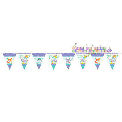 BABY SHOWER Woodland Welcome PAPER FLAG BANNER ~ Party Supplies Decorations Fox