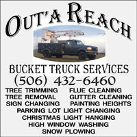 Bucket Truck Services, Heights, Tree Trimming, Lot Clearing